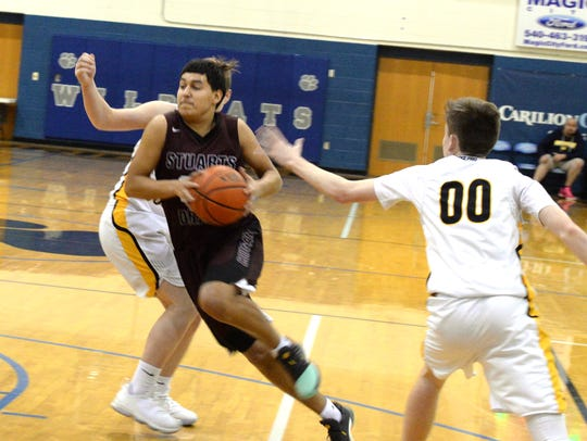 Stuarts Draft's Antonio Ruiz-Haynes drives to the basket