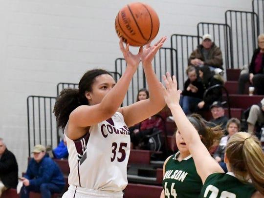 Wilson Memorial's Monique Ayres shoots during a basketball