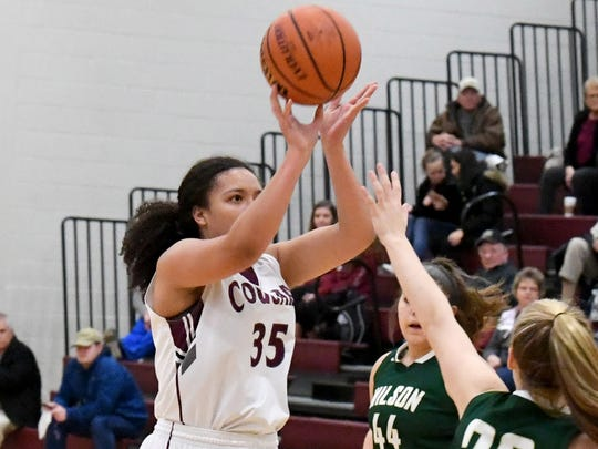 Wilson Memorial's Monique Ayres shoots during a basketball game played in Stuarts Draft on Tuesday, Jan. 30, 2018.