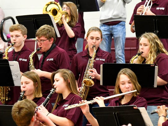 The Stuarts Draft pep band plays for the crowd before the start of the boys basketball game played in Stuarts Draft on Tuesday, Jan. 30, 2018.