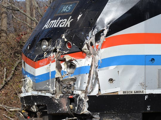 The front engine of the Amtrak train after the wreck