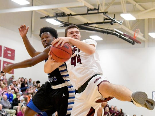 Stuarts Draft's Tyler Goodwin comes away with the rebound