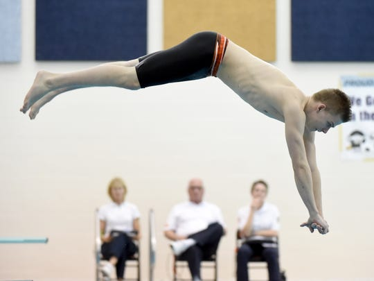 Northeastern High School's Wade Wolfgang placed fourth in the YAIAA diving championship at Central York High School on Tuesday, Feb. 13, 2018.
