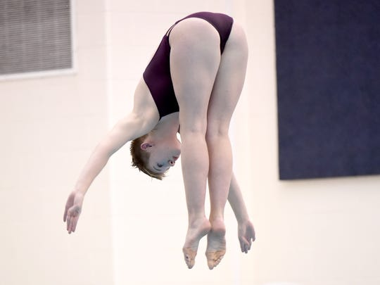 Northeastern High School's Abigail O'Leary placed first in the YAIAA diving championship at Central York High School on Tuesday, Feb. 13, 2018.