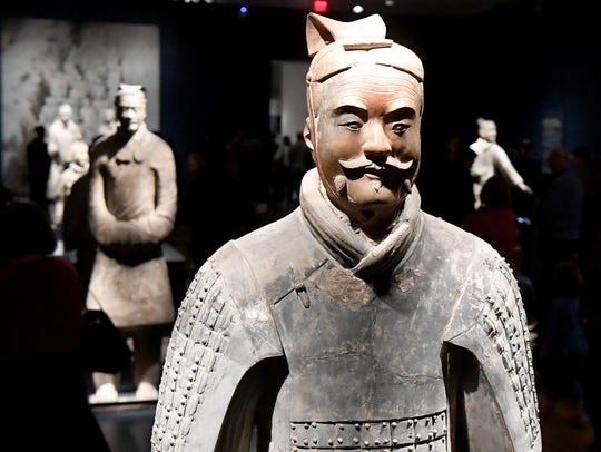 Figures from the Terracotta Army exhibit on display