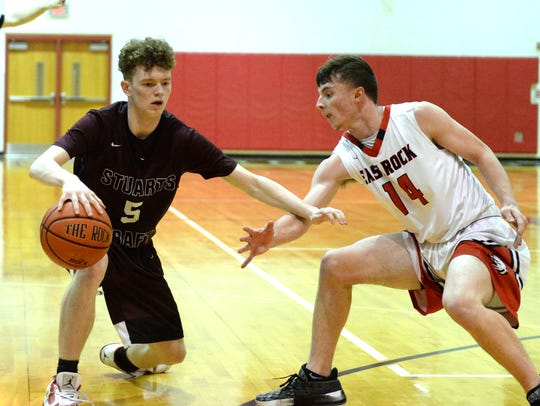 Stuarts Draft's Dylan Dunnivan tries to keep his dribble