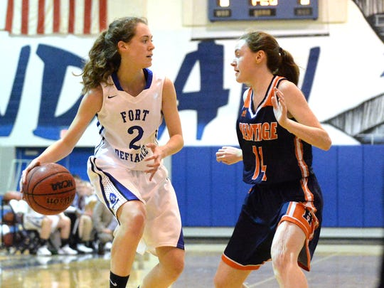 Fort Defiance's Faith Farley (2) was the lone senior for the Indians, ending her high school playing career with the 47-40 loss to Heritage Monday night.