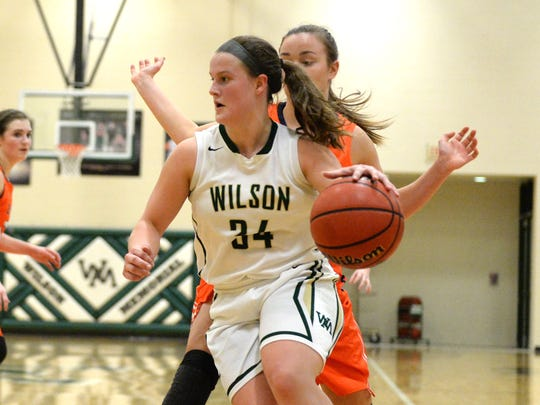 Wilson Memorial's Cheridan Hatfield looks for an opening to the basket Tuesday against Clarke County. Hatfield finished with 14 points.