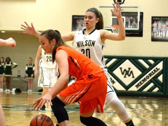 Wilson Memorial freshman Korinne Baska (30) defends