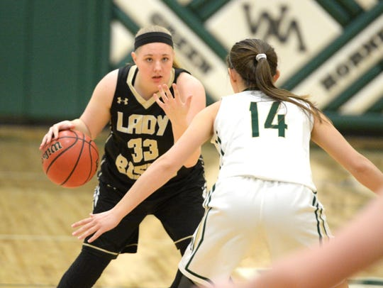 Buffalo Gap's Camille Ashby sets up the play Thursday