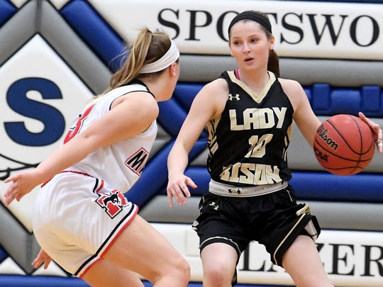 Buffalo Gap's Emily McComas has the ball during the Region 2B girls basketball championship game played in Penn Laird on Saturday, Feb. 24, 2018.