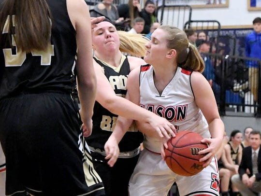 Buffalo Gap's Camille Ashby reaches for the ball held