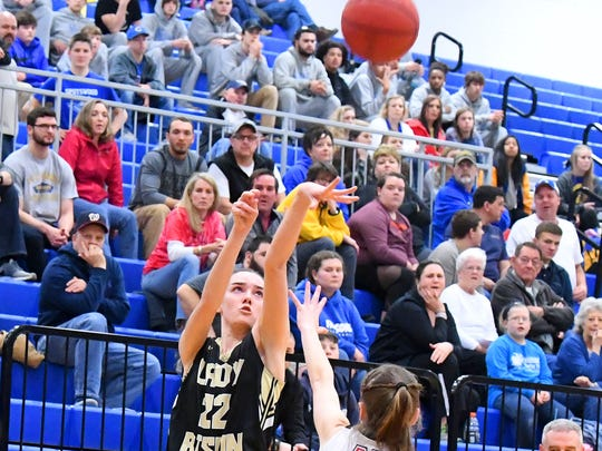 Buffalo Gap's Leah Calhoun shoots during the Region 2B girls basketball championship game played in Penn Laird on Saturday, Feb. 24, 2018.
