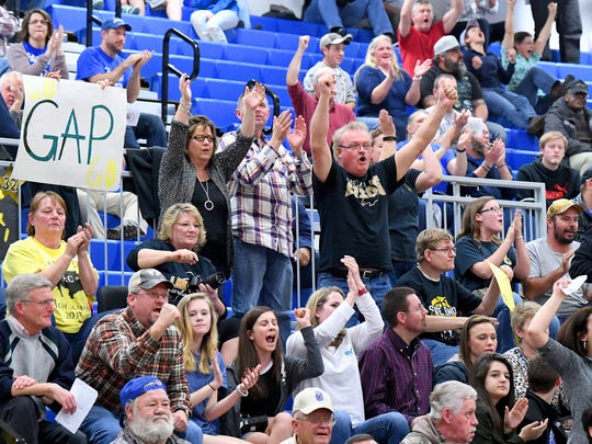 Fans celebrate as Buffalo Gap retakes the lead. Gap won the Region 2B girls basketball championship after defeating George Mason in a game played in Penn Laird on Saturday, Feb. 24, 2018.
