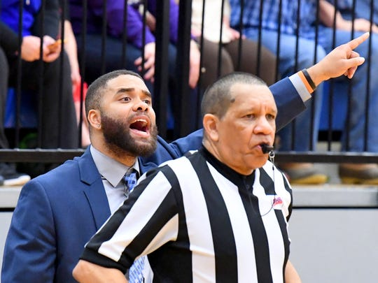 Robert E. Lee's Terrell Mickens, the 2018 All-City/County Boys Basketball Coach of the Year, shouts instructions to his players during their win over Central-Woodstock in the VHSL Class 2, Region B championship game Feb. 23 at Spotswood High School.