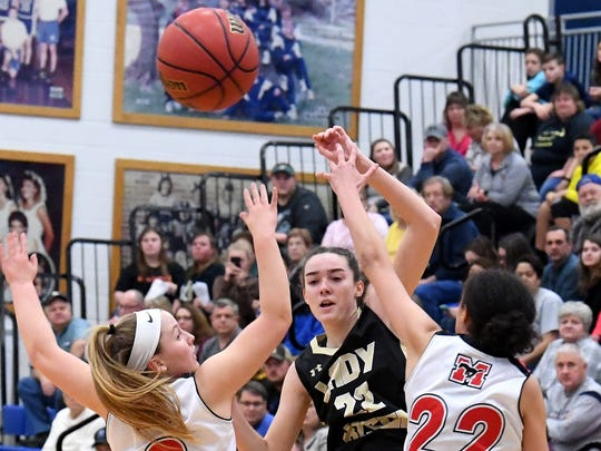 Buffalo Gap's Leah Calhoun battles for the rebound during the Region 2B girls basketball championship game played in Penn Laird on Saturday, Feb. 24, 2018.