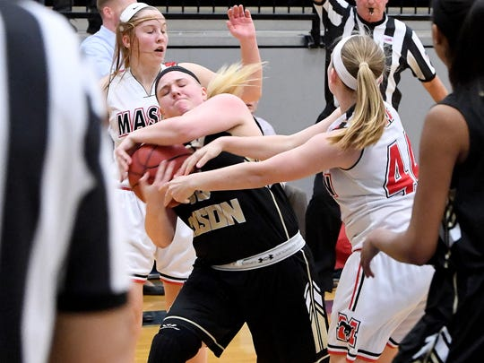 Buffalo Gap's Camille Ashby protects the ball from