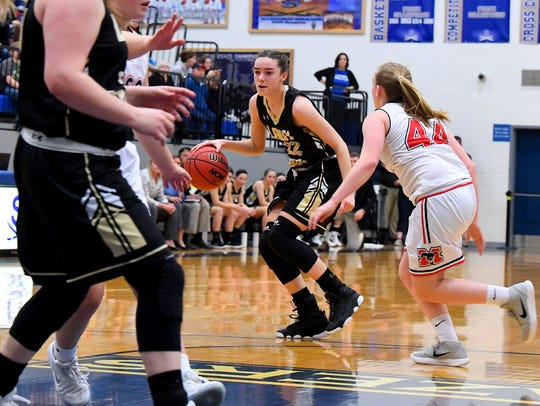 Buffalo Gap's Leah Calhoun moves the ball as George