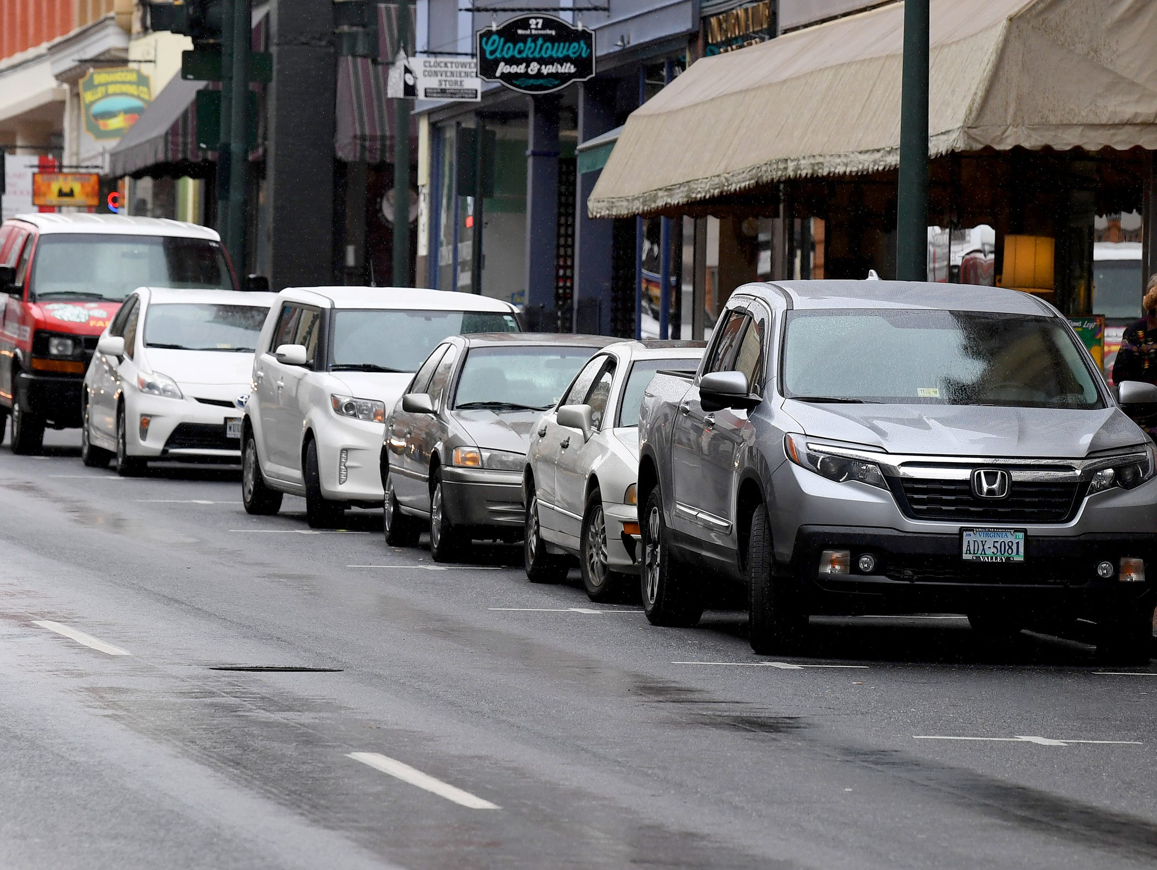 Cars parked along West Beverley Street in downtown