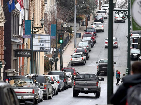 Cars parked along East Beverley Street in downtown Staunton.