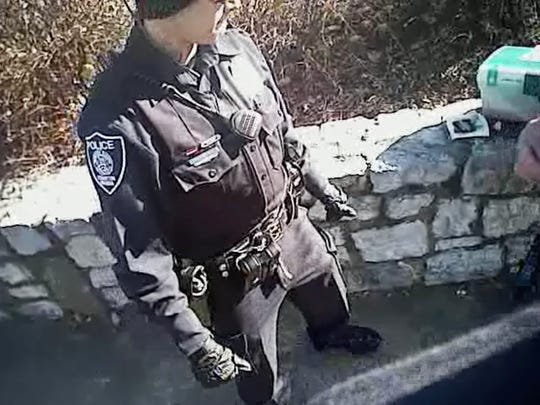 Still image taken from body cam video from the Staunton Police Department.