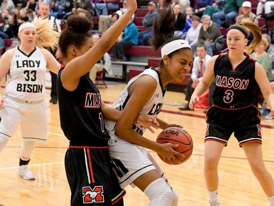 Buffalo Gap's Amaya Lucas tries to reach the basket