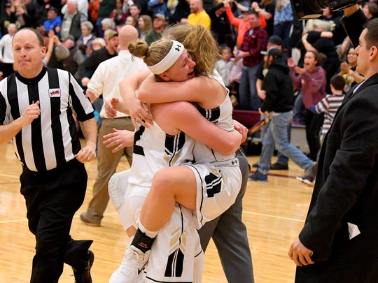 Buffalo Gap celebrates their win over George Mason in a VHSL Class 2 girls state basketball semifinal game played in Stuarts Draft on Tuesday, March 6, 2018. Gap advances to the Class 2 girls state championship in Richmond on Friday.