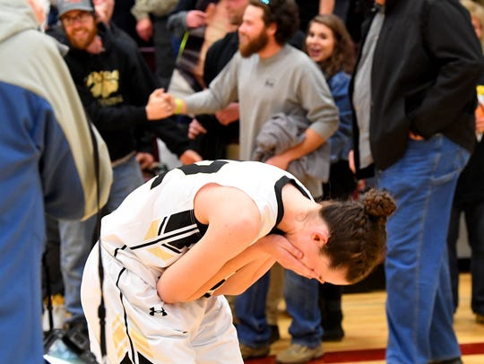 Buffalo Gap's Leah Calhoun is overcome with emotion