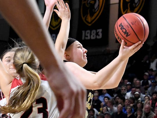 Buffalo Gap's Camille Ashby takes the ball up to the basket and shoots during the VHSL Class 2 girls state championship game played in Richmond on Friday, March 9, 2018.