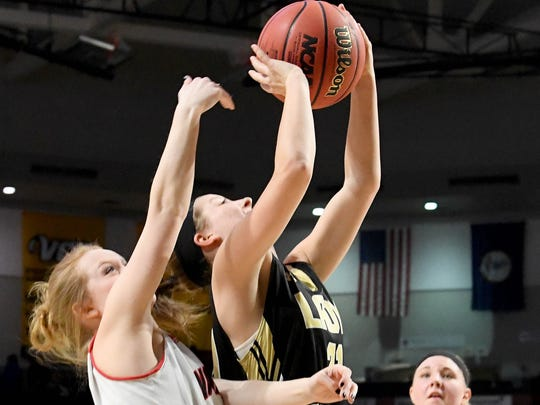 Buffalo Gap's Kieland Chandler takes the ball up and shoots during the VHSL Class 2 girls state championship game played in Richmond on Friday, March 9, 2018.