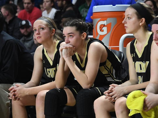 Buffalo Gap players watch the action on the court in the final moments of play as it looks like Central-Wise will win the VHSL Class 2 girls state championship game played in Richmond on Friday, March 9, 2018.