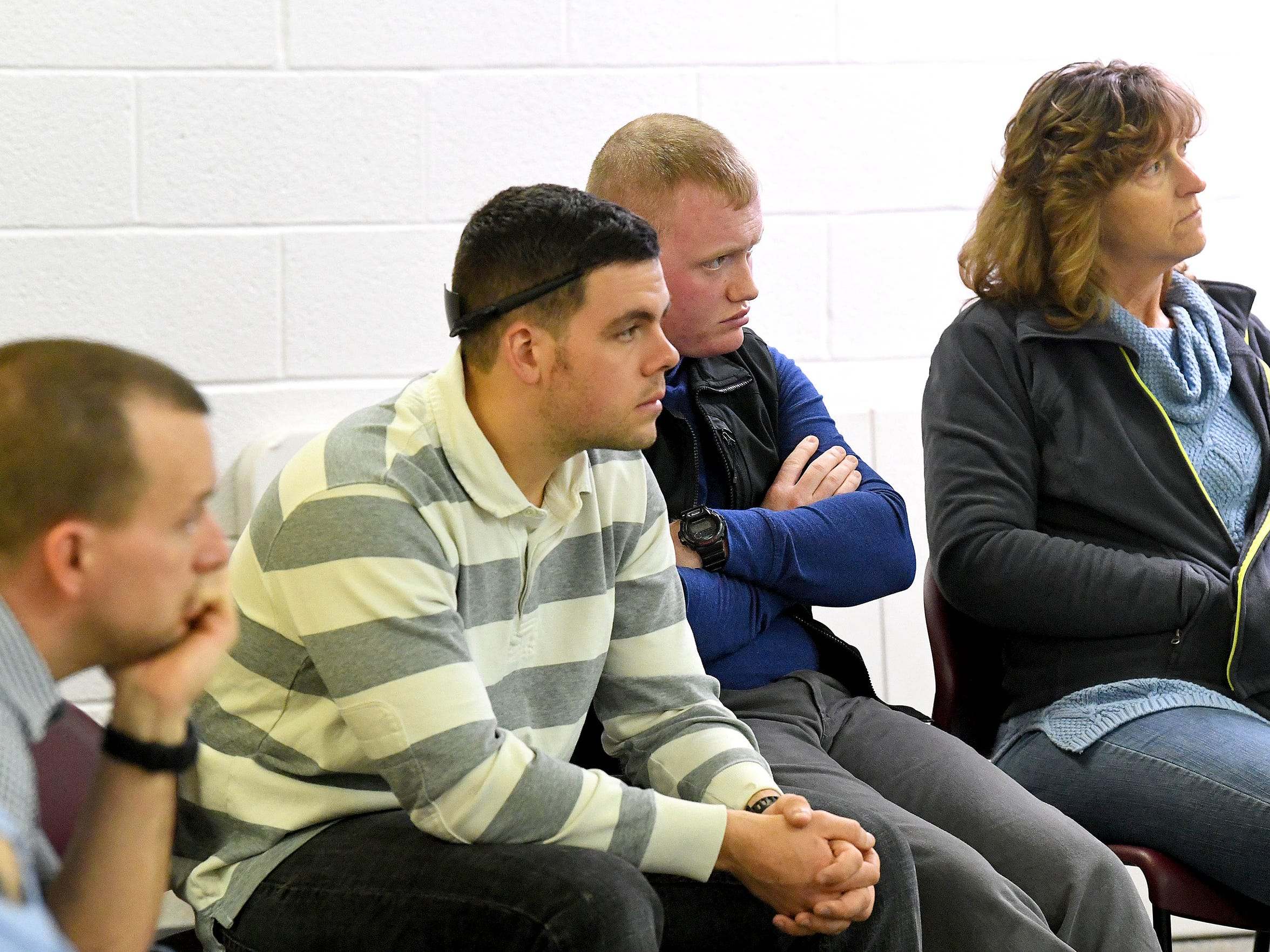 Participants observe as other students try to deescalate various crisis situations as part of roleplaying exercises during Crisis Intervention Team (CIT) training held in Staunton on March 7, 2018.