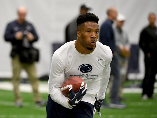 Former Penn State player Saeed Blacknall ran practice pass routes during the Penn State Football Pro Day at State College on Saturday, March 20, 2018.