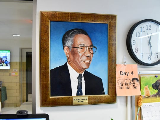 A painting of Arthur R. Ware Jr. hangs in the office of the Staunton school that bears his name, A.R. Ware Elementary.