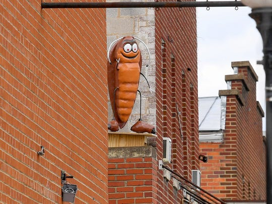 A much larger-than-life cockroach, created by artist Mark Cline, adorns a rooftop as one of just over a dozen such insects visible in downtown Buena Vista on Sunday, April 1, 2018. They are part of Cline's annual April Fool's creation and should remain on display for the next several months.