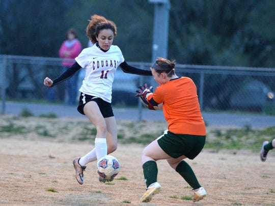 Stuarts Draft's Ashley Ramsey attempts to get the ball