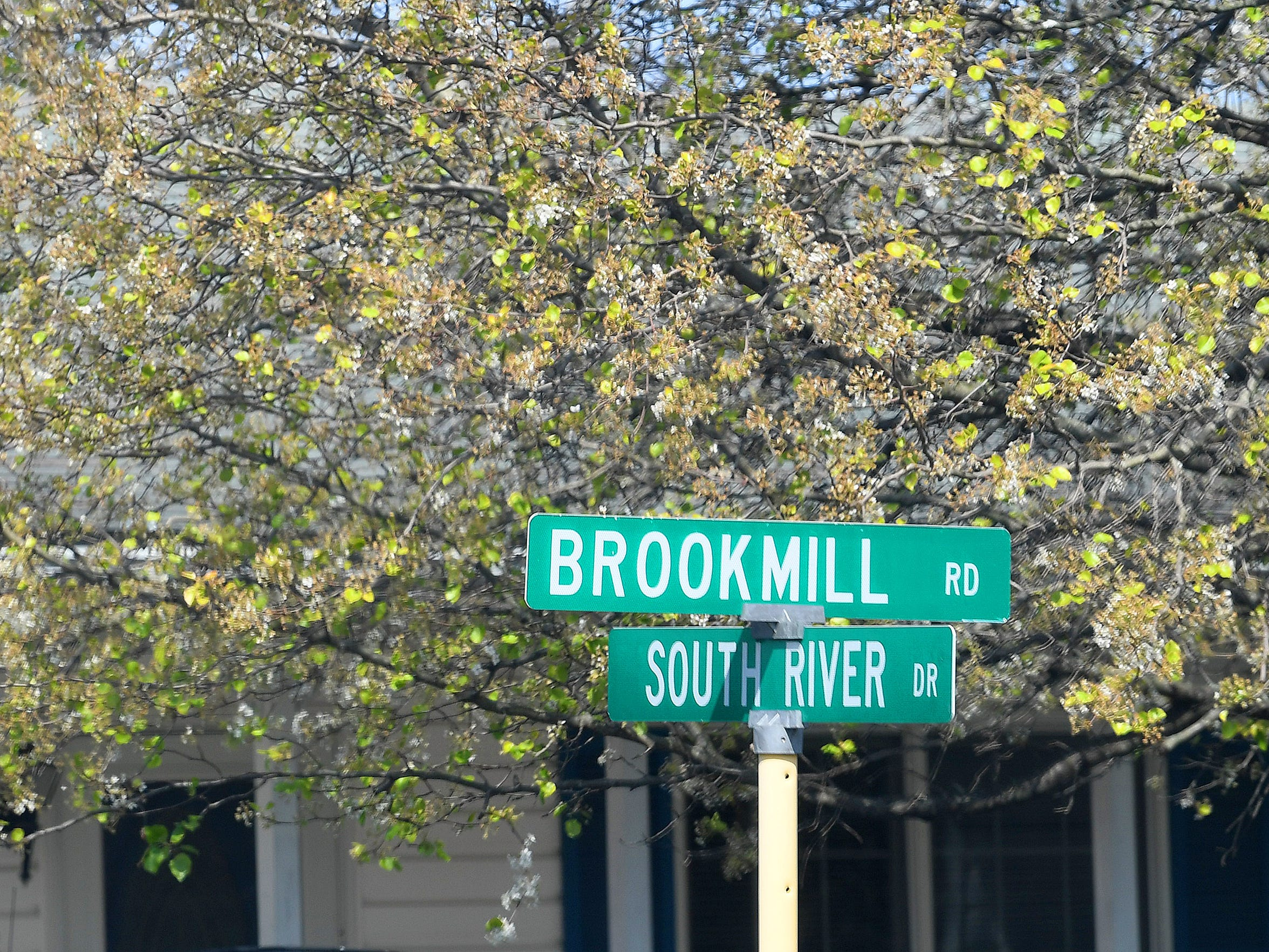 Street signs mark the intersection of Brookmill road