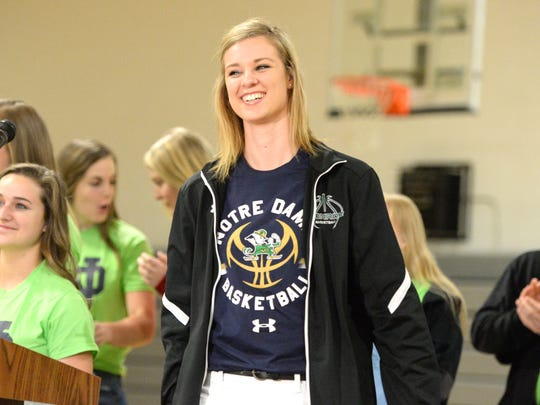 William Monroe's Sam Brunelle reveals a Notre Dame t-shirt under her jacket Sunday afternoon. The high school junior announced she will play basketball for the Fighting Irish following next year, her senior season at Monroe.