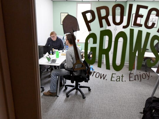 Project Grows' office inside the 32 North Augusta location of Staunton Innovation Hub following a ribbon cutting ceremony for the location on Wednesday, April 25, 2018.