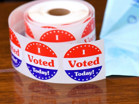 """""""I Voted"""" stickers waiting to be handed out at the Ward 5 polling place in Staunton on Tuesday, May 1, 2018."""