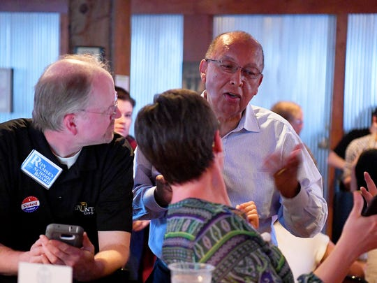 Candidate Kenneth Venable was successful in winning a seat on Staunton City School Board. He joined others at an election night watch gathering at Redbeard Brewing Company in Staunton on Tuesday, May 1, 2018.