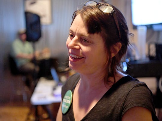 Candidate Christine Poulson was successful in winning a seat on Staunton City School Board. She joined others at an election night watch gathering at Redbeard Brewing Company in Staunton on Tuesday, May 1, 2018.