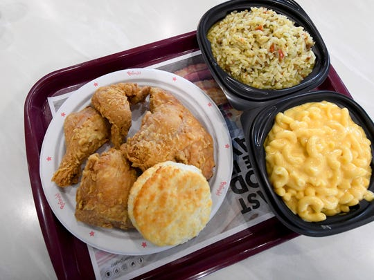 Fried chicken with dirty rice plus macaroni and cheese on a plate at the new Bojangles' on Richmond Road in Staunton on Wednesday, May 16, 2018. The restaurant opens this Saturday.