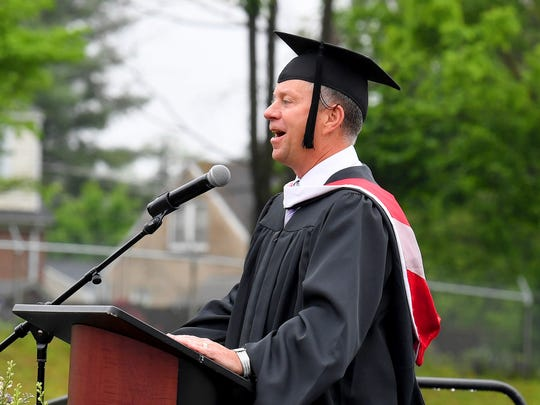 Principal Tim Teachey states that he is a glass half full kind of guy. He states that although it may be wet, at least it is not hot. Waynesboro High School beat the rain and held their commencement outside as planned on Saturday morning, May 19, 2018.