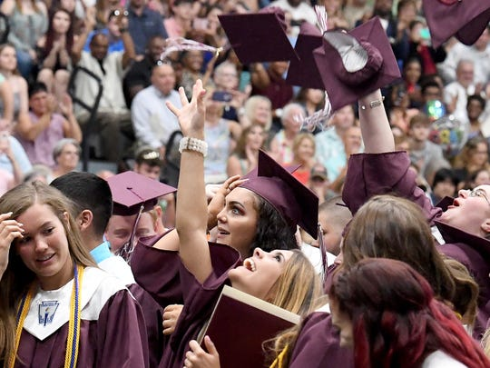 Graduates celebrate at the end of Stuarts Draft High
