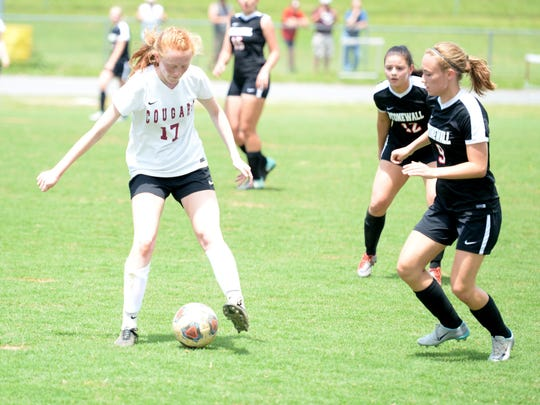 Stuarts Draft's Hannah Chatterton (17) controls the ball Friday in the Shenandoah District girls soccer tournament championship game.