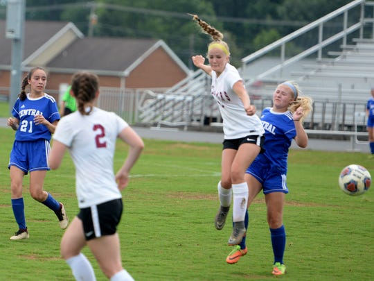 Stuarts Draft's Makenzie Gray (2) and Rissa Martin helped lead the Cougars to a win in Monday's Region 2B girls soccer quarterfinal match.