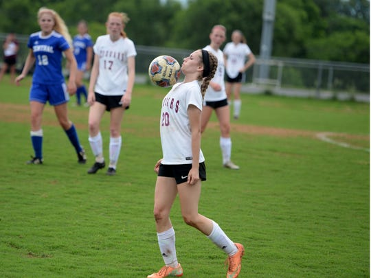 Stuarts Draft's Savannah McCarthey tries to control the ball during Monday's Region 2B girls soccer quarterfinal match against Central Woodstock.