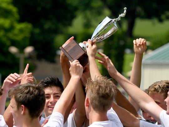 Robert E. Lee players celebrate after defeating George Mason, 3-0, to win the Region 2B boys soccer championship during a game played in Staunton on Friday, June 1, 2018.