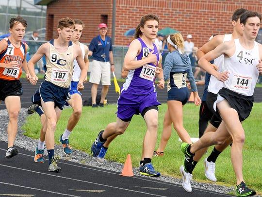 Waynesboro's Jacob Robeck competes in the boys 3200
